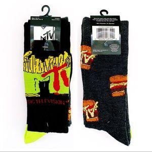 MTV Retro 90s Fast Food Burger Fries Crew Socks